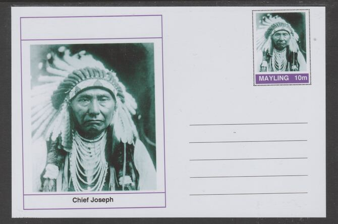 Mayling (Fantasy) Wild West - Chief Joseph glossy postal stationery card unused and fine