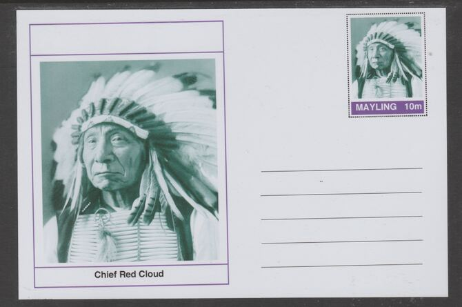 Mayling (Fantasy) Wild West - Chief Red Cloud glossy postal stationery card unused and fine