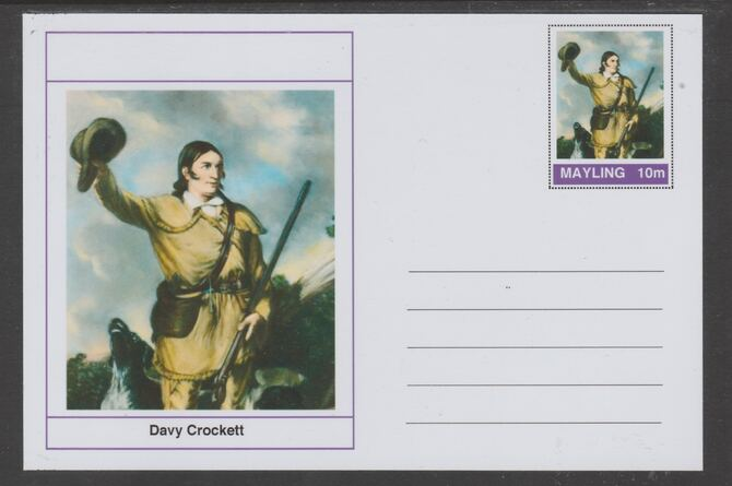 Mayling (Fantasy) Wild West - Davy Crockett glossy postal stationery card unused and fine