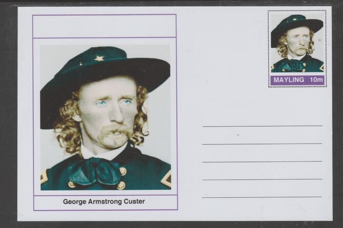 Mayling (Fantasy) Wild West - George Armstrong Custer glossy postal stationery card unused and fine