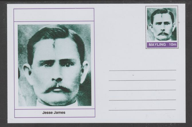 Mayling (Fantasy) Wild West - Jesse James glossy postal stationery card unused and fine
