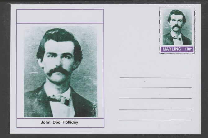 Mayling (Fantasy) Wild West - John 'Doc' Holliday glossy postal stationery card unused and fine