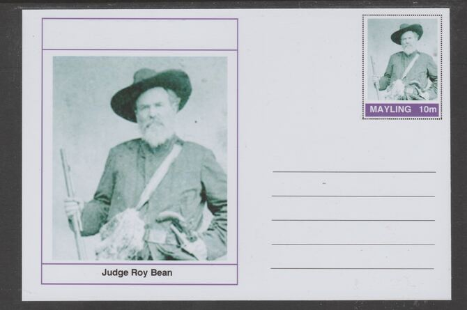 Mayling (Fantasy) Wild West - Judge Roy Bean glossy postal stationery card unused and fine