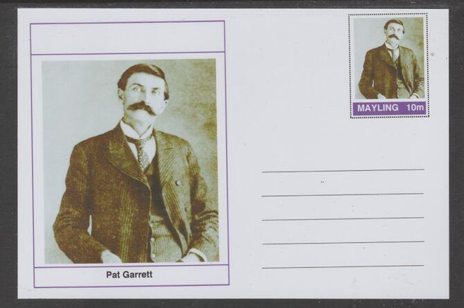 Mayling (Fantasy) Wild West - Pat Garrett glossy postal stationery card unused and fine