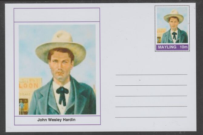 Mayling (Fantasy) Wild West - John Wesley Hardin glossy postal stationery card unused and fine