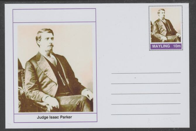 Mayling (Fantasy) Wild West - Judge Isaac Parker glossy postal stationery card unused and fine