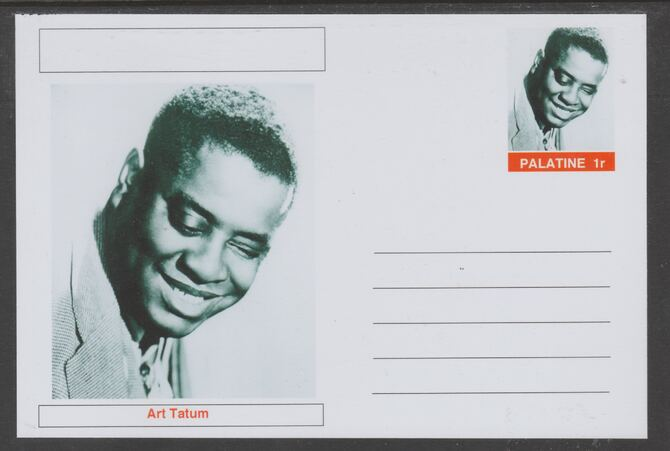 Palatine (Fantasy) Personalities - Art Tatum glossy postal stationery card unused and fine