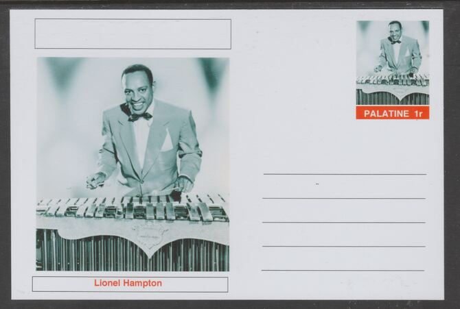 Palatine (Fantasy) Personalities - Lionel Hampton glossy postal stationery card unused and fine, stamps on personalities, stamps on music, stamps on jazz