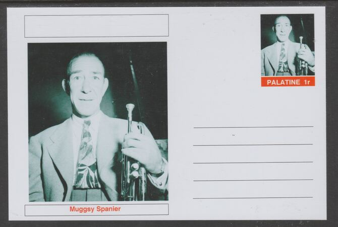 Palatine (Fantasy) Personalities - Muggsy Spanier glossy postal stationery card unused and fine