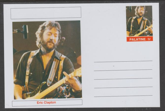 Palatine (Fantasy) Personalities - Eric Clapton glossy postal stationery card unused and fine, stamps on personalities, stamps on music, stamps on blues
