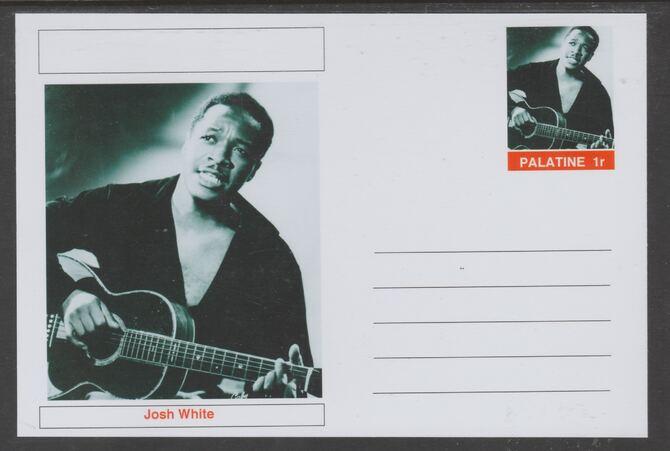 Palatine (Fantasy) Personalities - Josh White glossy postal stationery card unused and fine