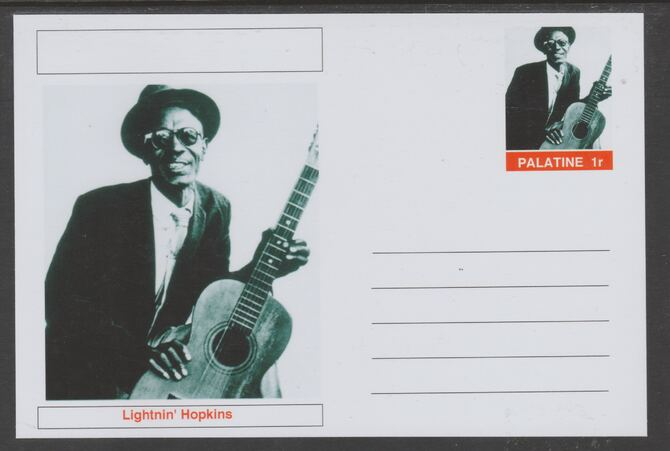 Palatine (Fantasy) Personalities - Lightnin' Hopkins glossy postal stationery card unused and fine