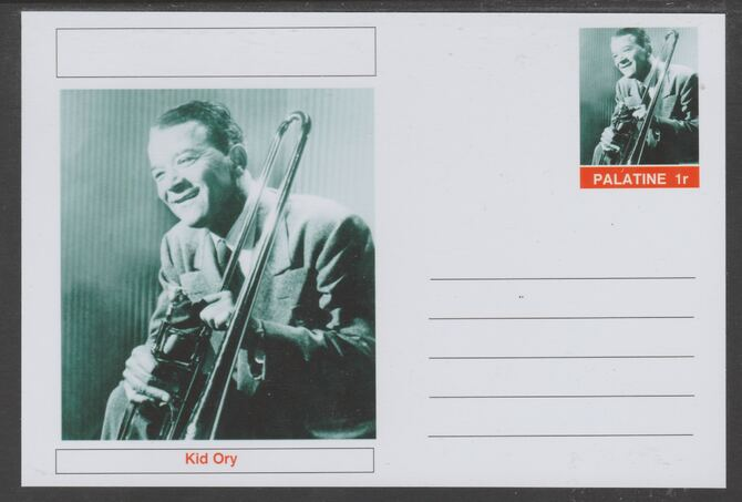 Palatine (Fantasy) Personalities - Kid Ory glossy postal stationery card unused and fine