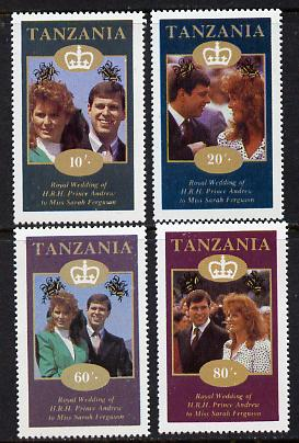Tanzania 1986 Royal Wedding (Andrew & Fergie) the unissued perf set of 4 values unmounted mint (10s, 20s, 60s & 80s)*