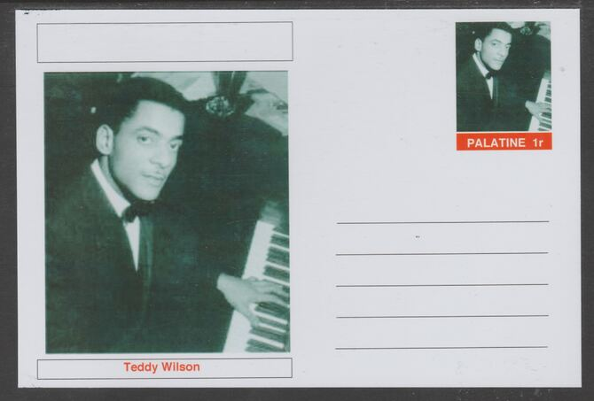 Palatine (Fantasy) Personalities - Teddy Wilson glossy postal stationery card unused and fine, stamps on personalities, stamps on music, stamps on jazz