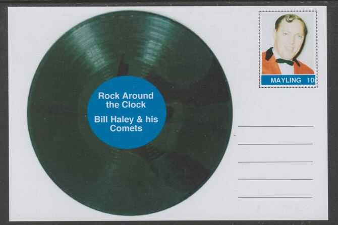 Mayling (Fantasy) Greatest Hits - Bill Haley & his Comets - Rock Around the Clock - glossy postal stationery card unused and fine, stamps on personalities, stamps on music, stamps on pops, stamps on rock, stamps on