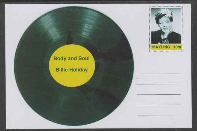 Mayling (Fantasy) Greatest Hits - Billie Holiday - Body and Soul - glossy postal stationery card unused and fine