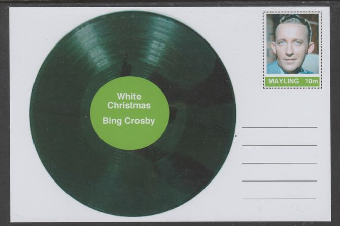 Mayling (Fantasy) Greatest Hits - Bing Crosby - White Christmas - glossy postal stationery card unused and fine