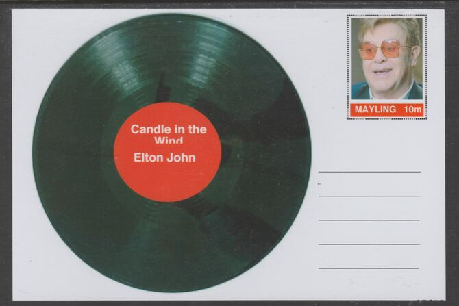 Mayling (Fantasy) Greatest Hits - Elton John - Candle in the Wind - glossy postal stationery card unused and fine