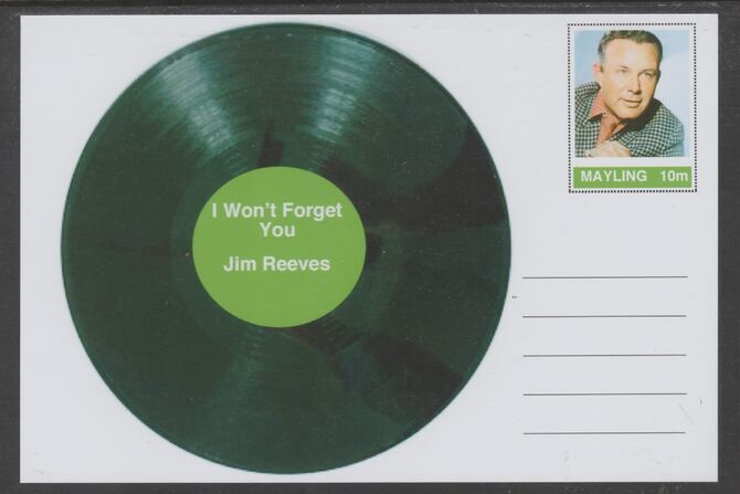 Mayling (Fantasy) Greatest Hits - Jim Reeves - I Won't Forget You - glossy postal stationery card unused and fine