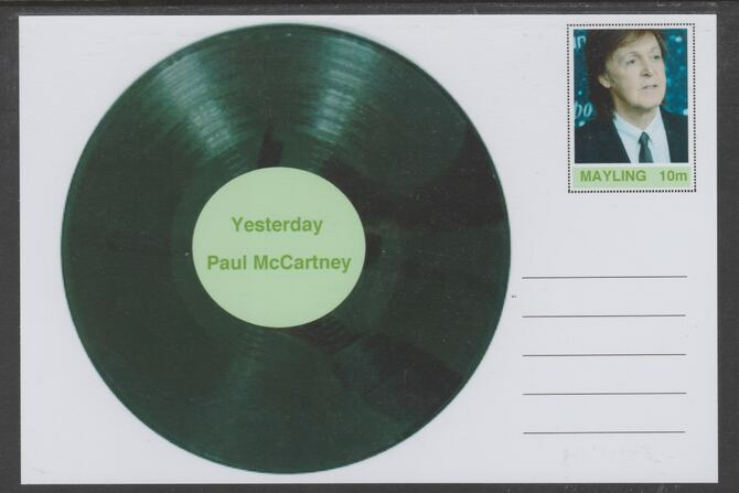 Mayling (Fantasy) Greatest Hits - Paul McCartney - Yesterday - glossy postal stationery card unused and fine