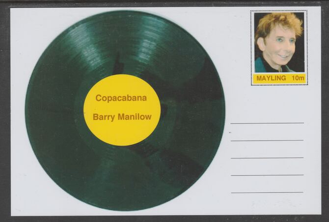 Mayling (Fantasy) Greatest Hits - Barry Manilow - Copacabana - glossy postal stationery card unused and fine