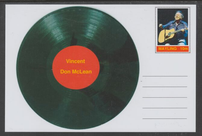 Mayling (Fantasy) Greatest Hits - Don McLean - Vincent - glossy postal stationery card unused and fine
