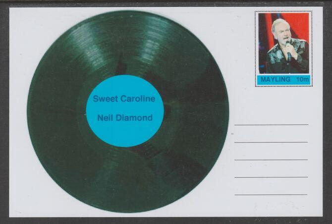 Mayling (Fantasy) Greatest Hits - Neil Diamond - Sweet Caroline - glossy postal stationery card unused and fine