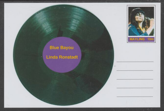 Mayling (Fantasy) Greatest Hits - Linda Ronstadt - Blue Bayou - glossy postal stationery card unused and fine