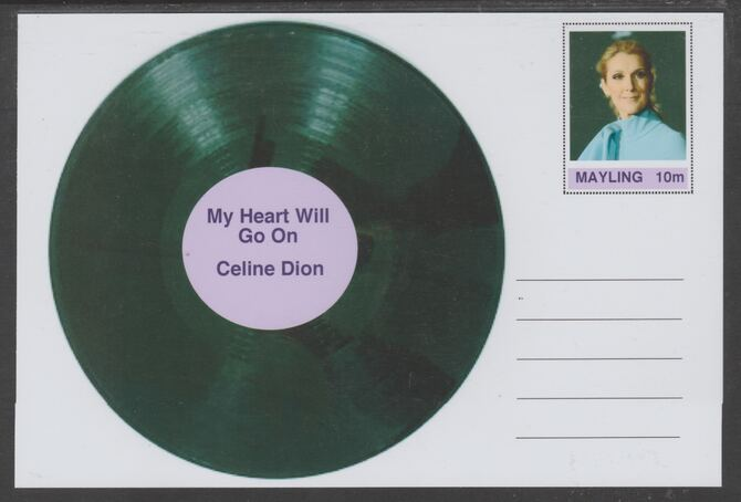 Mayling (Fantasy) Greatest Hits - Celine Dion - My Heart Will Go On - glossy postal stationery card unused and fine
