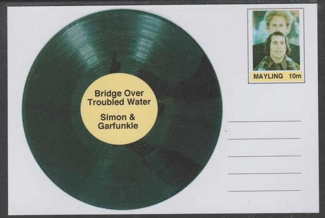 Mayling (Fantasy) Greatest Hits - Simon & Gaefunkle - Bridge Over Troubled Water - glossy postal stationery card unused and fine