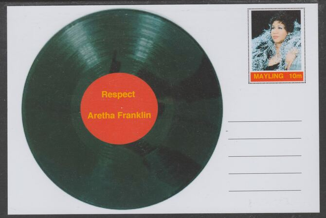 Mayling (Fantasy) Greatest Hits - Aretha Franklin - Respect - glossy postal stationery card unused and fine