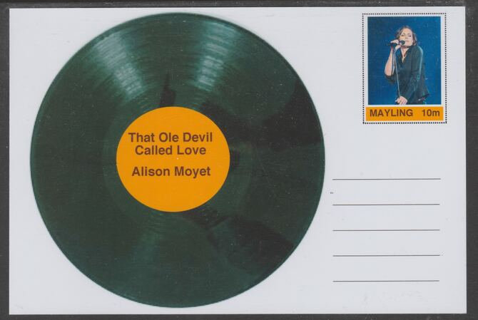 Mayling (Fantasy) Greatest Hits - Alison Moyet - That Ole Devil Called Love - glossy postal stationery card unused and fine