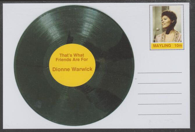 Mayling (Fantasy) Greatest Hits - Dionne Warwick - That's What Friends are For - glossy postal stationery card unused and fine