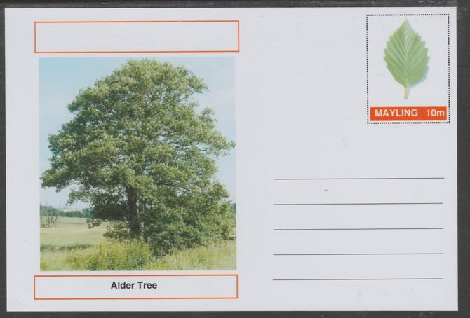 Mayling (Fantasy) Trees - Alder - glossy postal stationery card unused and fine, stamps on trees