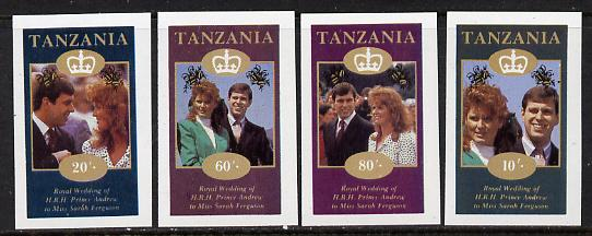 Tanzania 1986 Royal Wedding (Andrew & Fergie) the unissued imperf set of 4 values unmounted mint (10s, 20s, 60s & 80s)*