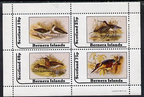 Bernera 1981 Birds #05 (3 Waders & Kingfisher) perf  set of 4 values (10p to 75p) unmounted mint, stamps on birds   kingfisher
