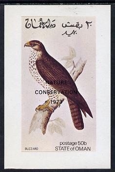Oman 1972 Birds (Buzzard) imperf souvenir sheet (50b value) opt'd Nature Conservation 1973  unmounted mint