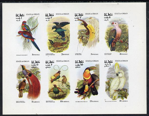Oman 1973 Exotic Birds (Birds of Paradise & Parrots) imperf  set of 8 values (1b to 1R) unmounted mint