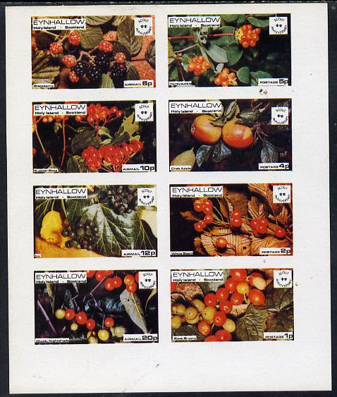 Eynhallow 1974 Fruit (Scout Anniversary) imperf  set of 8 values (1p to 20p) unmounted mint