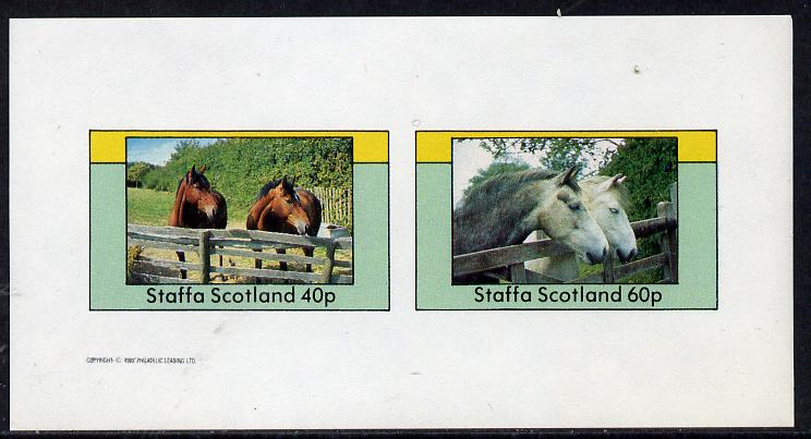 Staffa 1982 Horses imperf  set of 2 values unmounted mint