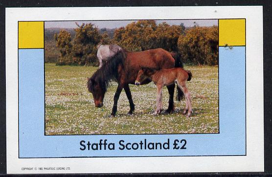Staffa 1982 Horses imperf deluxe sheet (�2 value) unmounted mint
