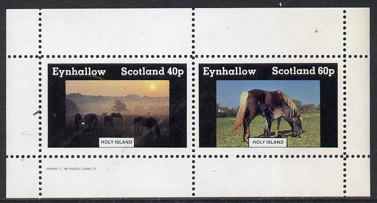 Eynhallow 1982 Horses #3 perf  set of 2 values (40p & 60p) unmounted mint, stamps on animals   horses