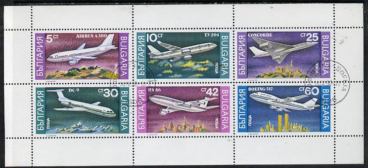 Bulgaria 1990 Airplanes cto sheetlet containing set of 6, SG 3705-10 (Mi 3858-63)