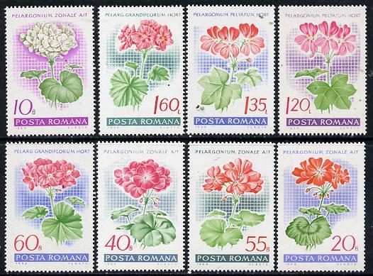 Rumania 1968 Garden Geraniums set of 8 unmounted mint, SG 3563-70, Mi 2686-93