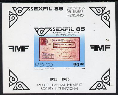 Mexico 1985 'Mexfil '85' Philatelic Exhibition imperf m/sheet depicting early Postal item unmounted mint SG MS1742
