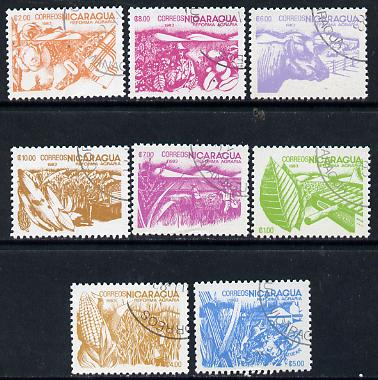 Nicaragua 1983 Agrarian Reform cto set of 8 (various products inscribed 1983) SG 2536-43*