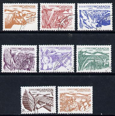 Nicaragua 1987 Agrarian Reform cto set of 8 (various products inscribed 1987) SG 2854-61*