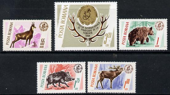 Rumania 1965 Hunting Trophies set of 5 unmounted mint, SG 3332-36, Mi 2460-64*