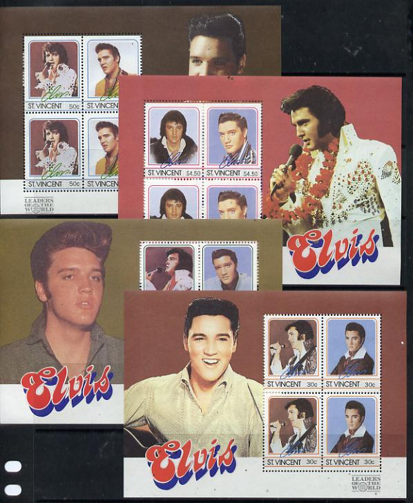 St Vincent 1985 Elvis Presley (Leaders of the World) set of 4 m/sheets unmounted mint (SG MS 1078)